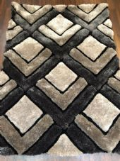 WOVEN RUGS HAND CARVED APPROX 6X4FT 120X170CM GREY-SILVER GREAT QUALITY 3D RUGS